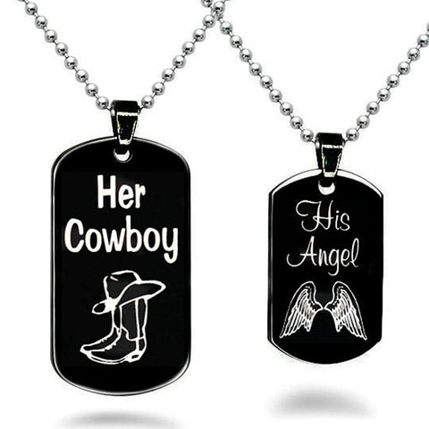 Her Cowboy His Angel Necklace