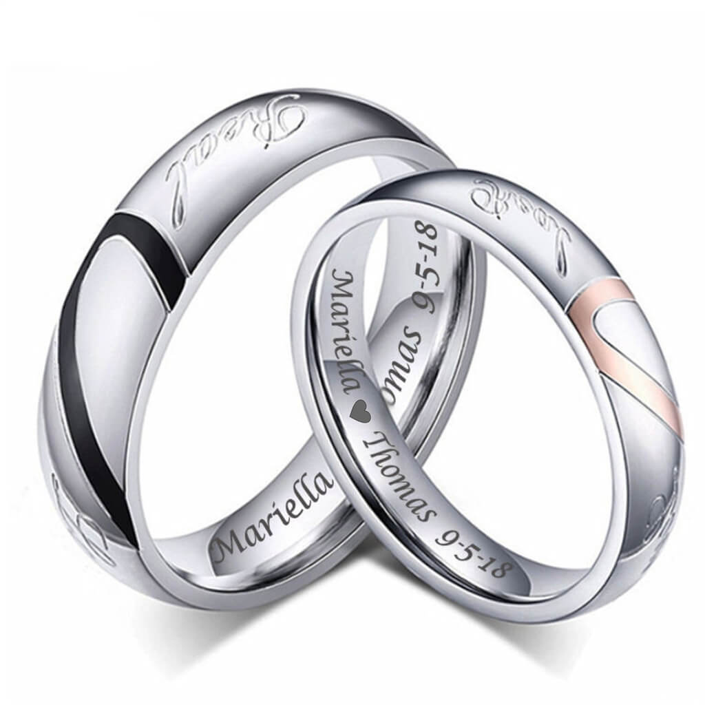 9c78a9aea7 Matching Heart His and Her Couples Rings Wedding Anniversary Bands ...