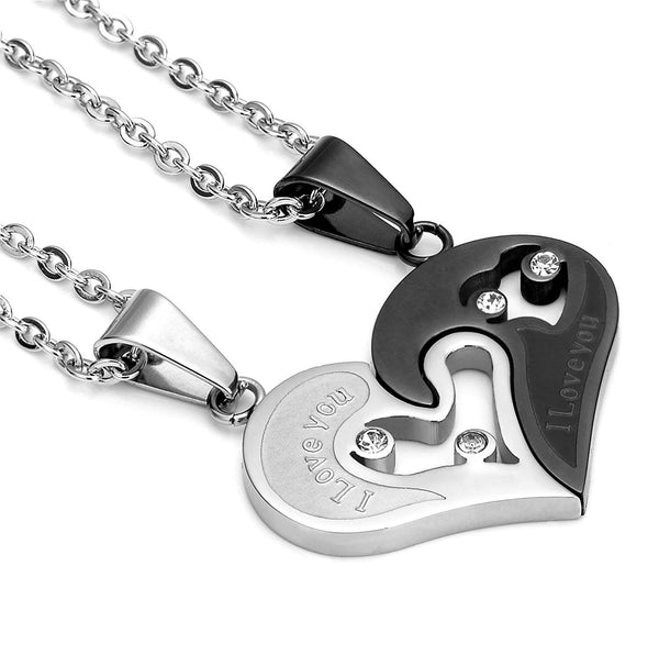 """I Love You"" Heart Couple Necklaces (Set)"