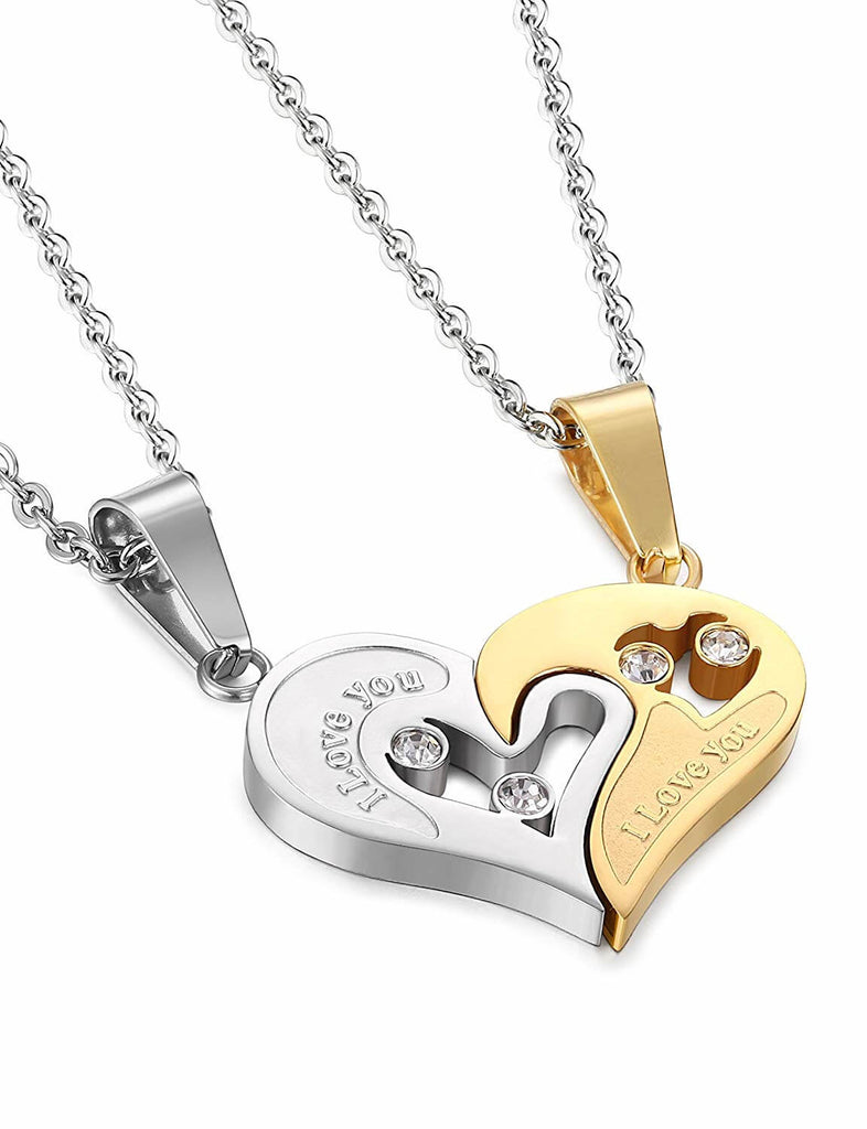 """I Love You"" Puzzle Necklaces for Couples (Set)"