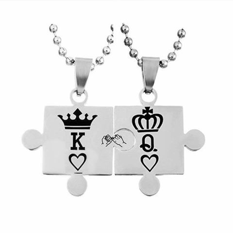 K Q Crown Puzzle Necklace