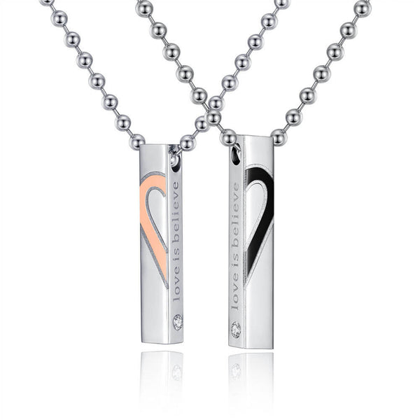 Love is Believe Heart Bar Necklace