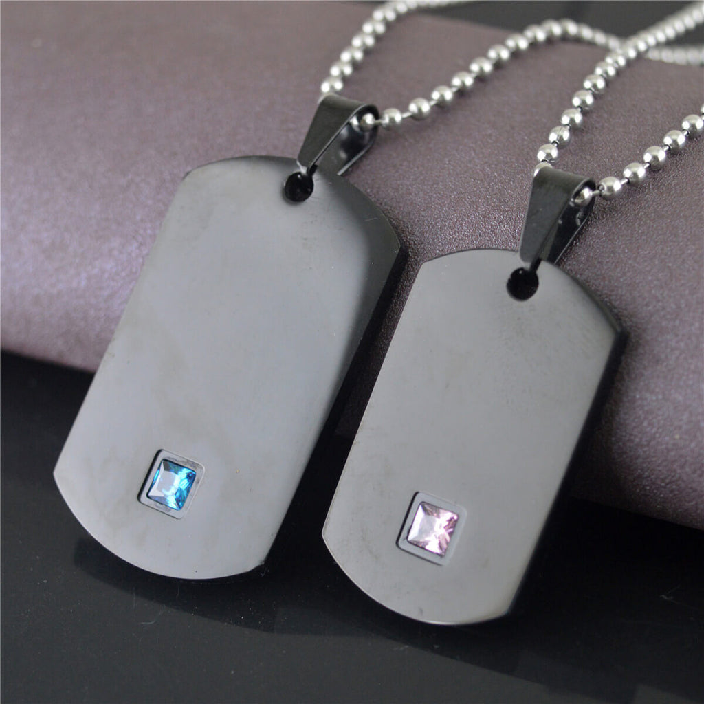 Her King His Queen Tag Necklaces for Couple