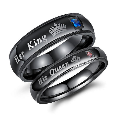 Black Her King His Queen Promise Rings for Couple