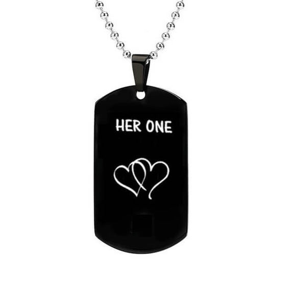 His Only & Her One Dog Tag Couple Necklaces