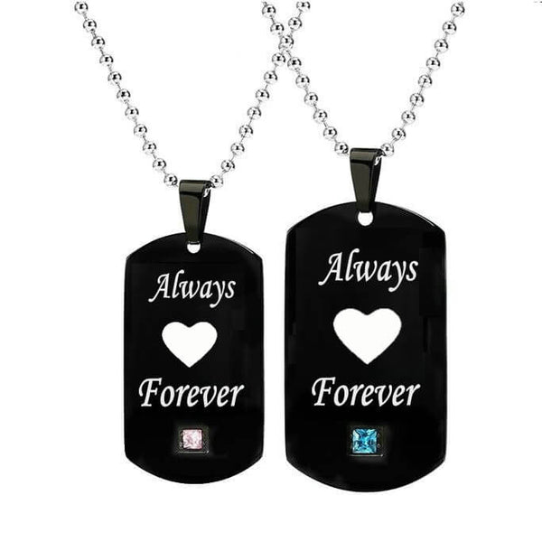 Always Forever Couple Heart Necklaces