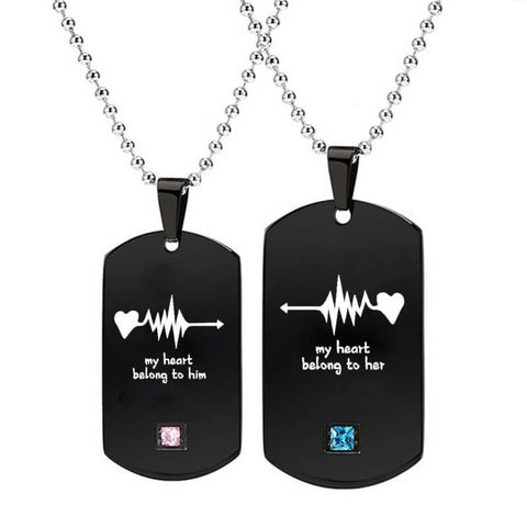 Black Couple Heartbeat Necklaces