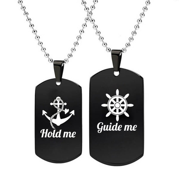 Guide Me & Hold Me Black Couple Necklaces