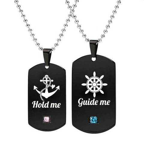 Guide Me & Hold Me Couple Tag Necklaces