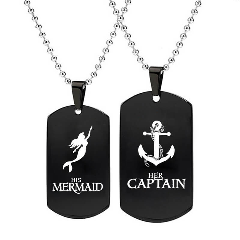 His Mermaid Her Captain Matching Necklaces
