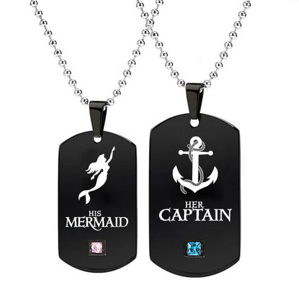 His Mermaid Her Captain Couple Necklaces