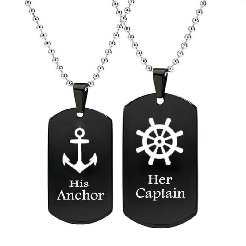 His Anchor and Her Captain Necklaces