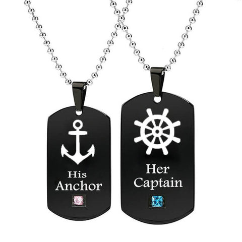 Her Captain & His Anchor Couple Necklaces