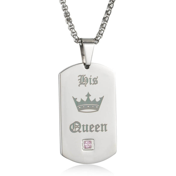Her King His Queen Black Tag Necklace