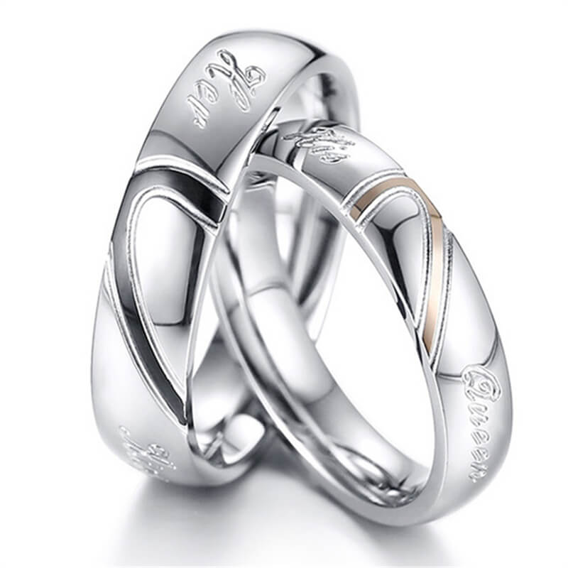 Heart Puzzle His Queen Her King Promise Rings for Couple