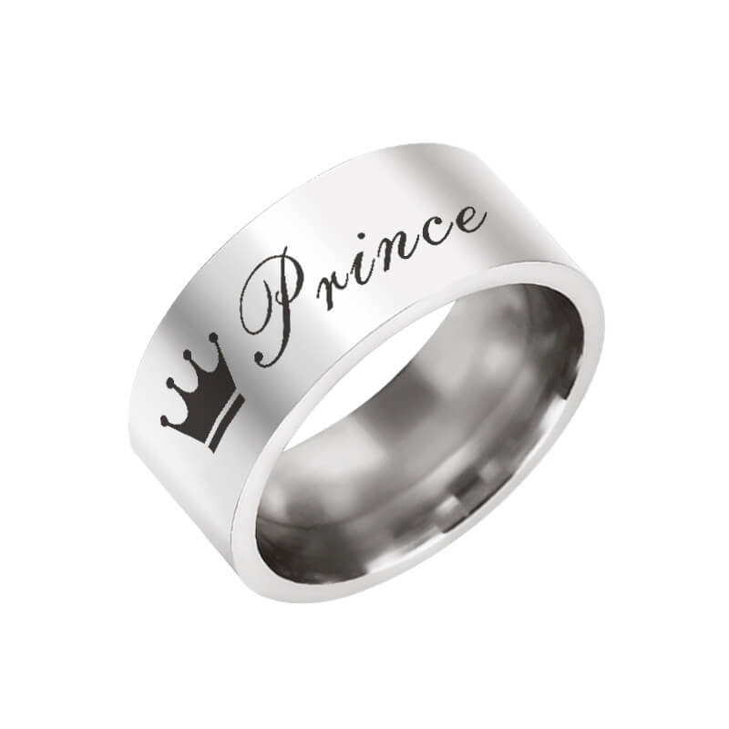 8668af663d829 Princes Princess Couple Promise Rings His and Her Engraved Bands ...