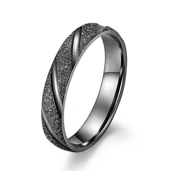 Frosted Black Promise Rings for Couples