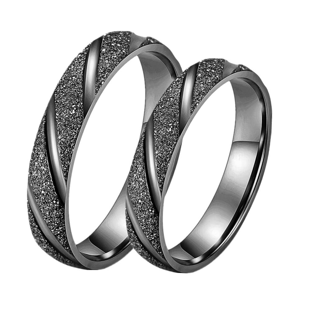 0c1fb52948 Frosted Black Promise Rings for Couples Engraved Matching Set ...