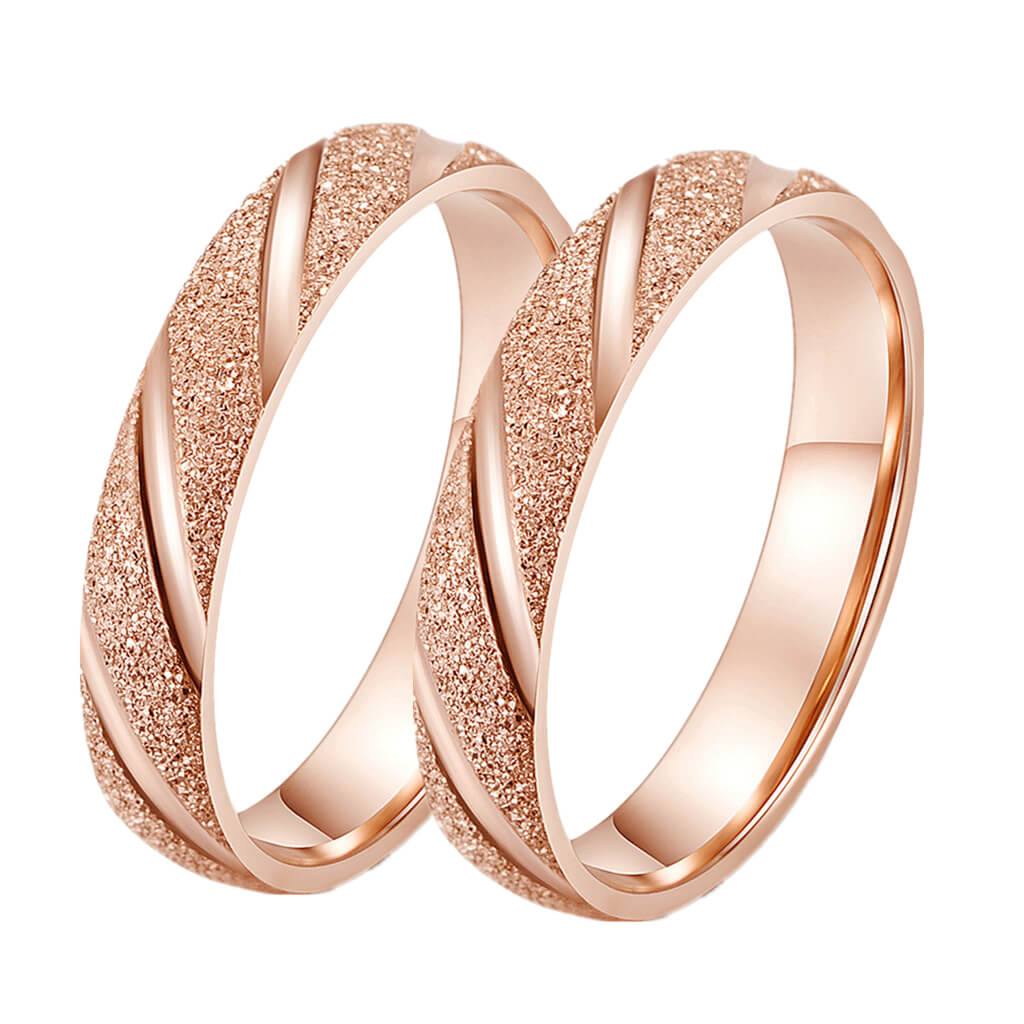 6880031fc9 Rose Gold His and Hers Promise Rings Couple Set Frosted Bevel Design ...