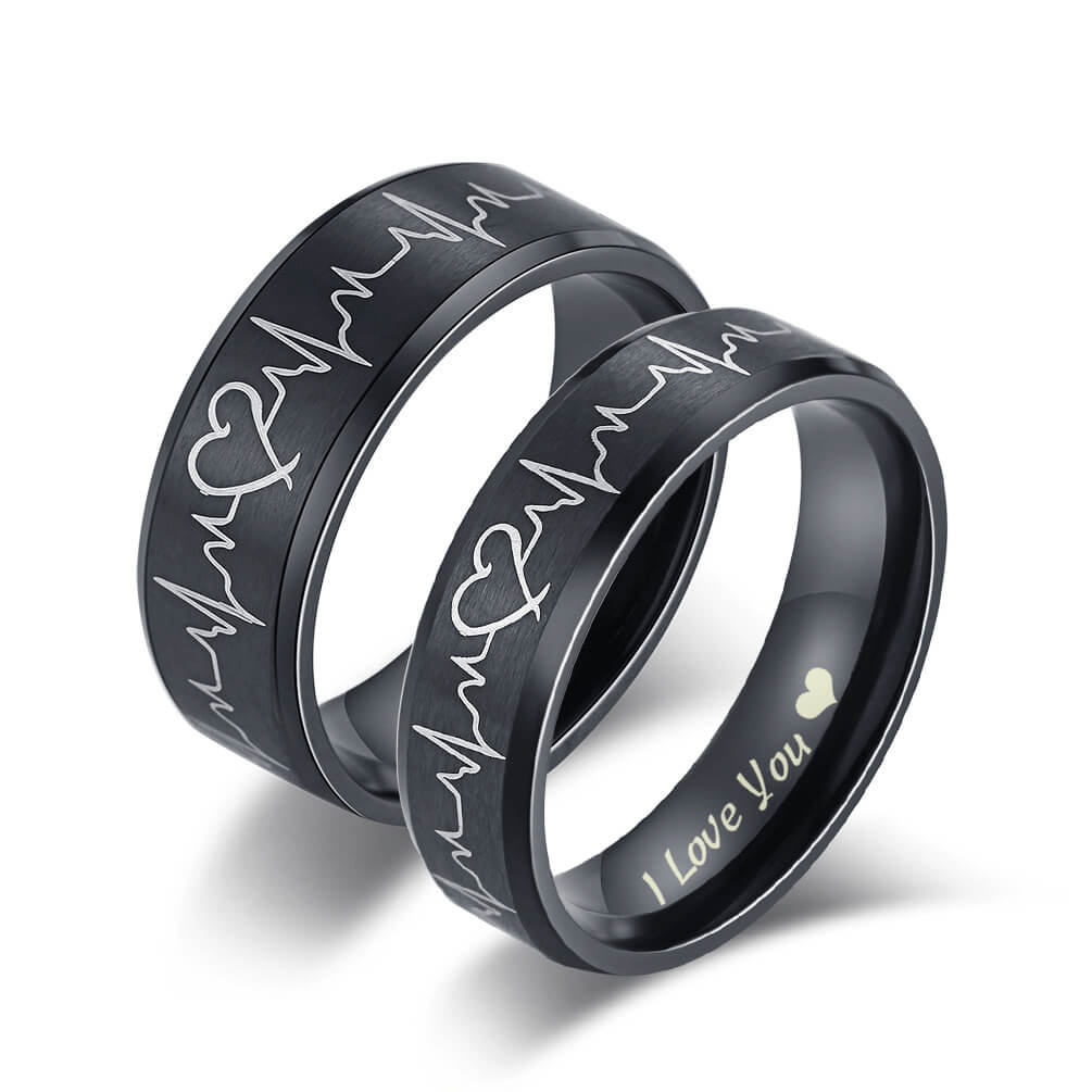 Black Heartbeat ECG Couple Promise Ring Set I Love You