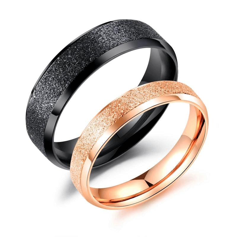 Stainless Matte Black and Rose Gold Couple Rings