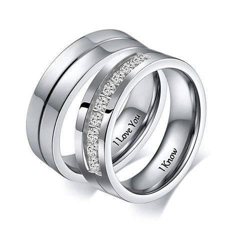 I LOVE YOU Promise Rings Couple Set