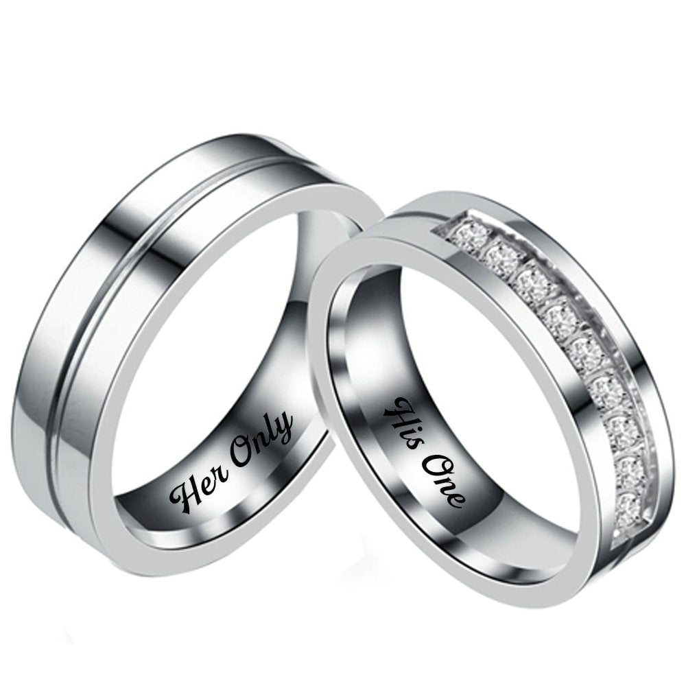 c1ba9cdf16 Her Only His One Couples Rings for Promise – GardeniaJewel