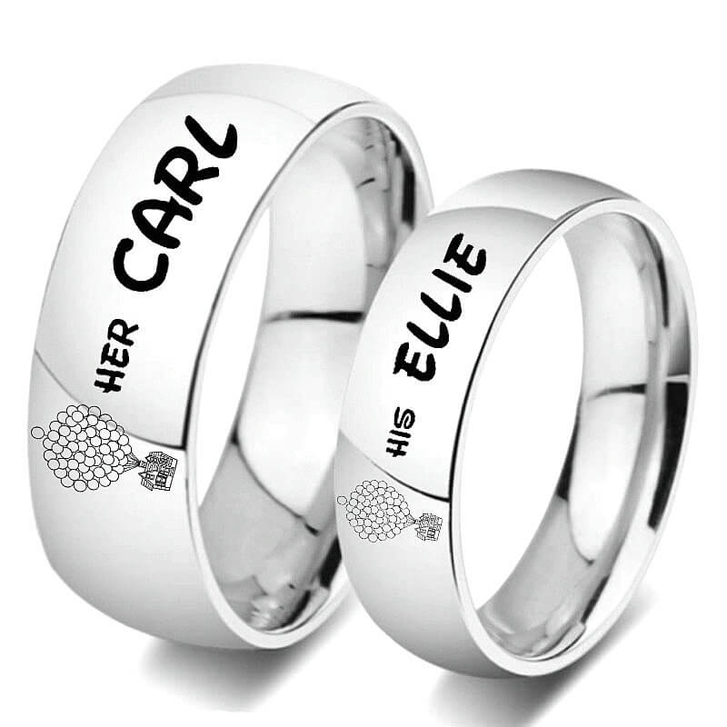 4b04ff1182 His Ellie Her Carl Couple Rings Silver Promise Bands for Women and Men –  GardeniaJewel