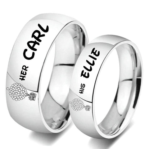 His Ellie Her Carl Couple Rings Silver