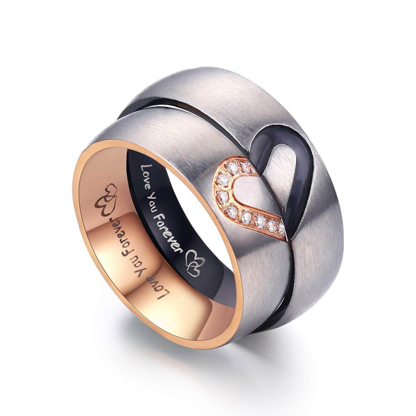 Matching Heart Couple Rings