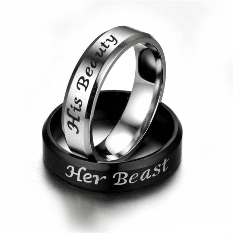 Her Beast His Beauty Couple Ring