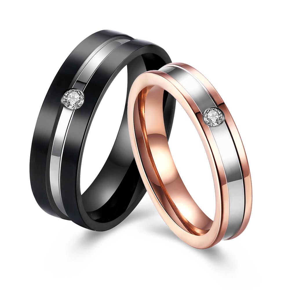 30f2b46f71 Black and Rose Gold Matching Promise Rings For Lover Wedding Band ...