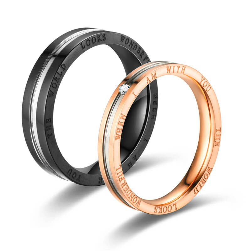 His & Hers Promise Rings Endless Love Stainless Steel