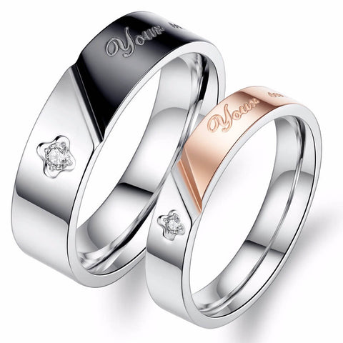 Black & Rose Gold Matching Couples Rings