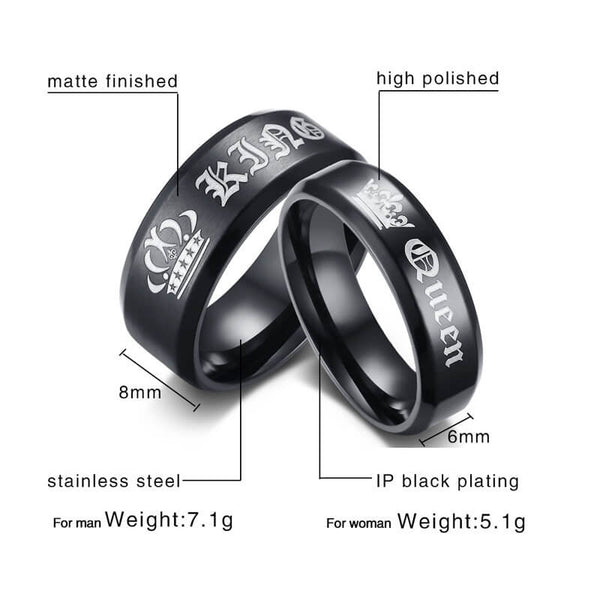 King & Queen Black Couple Rings