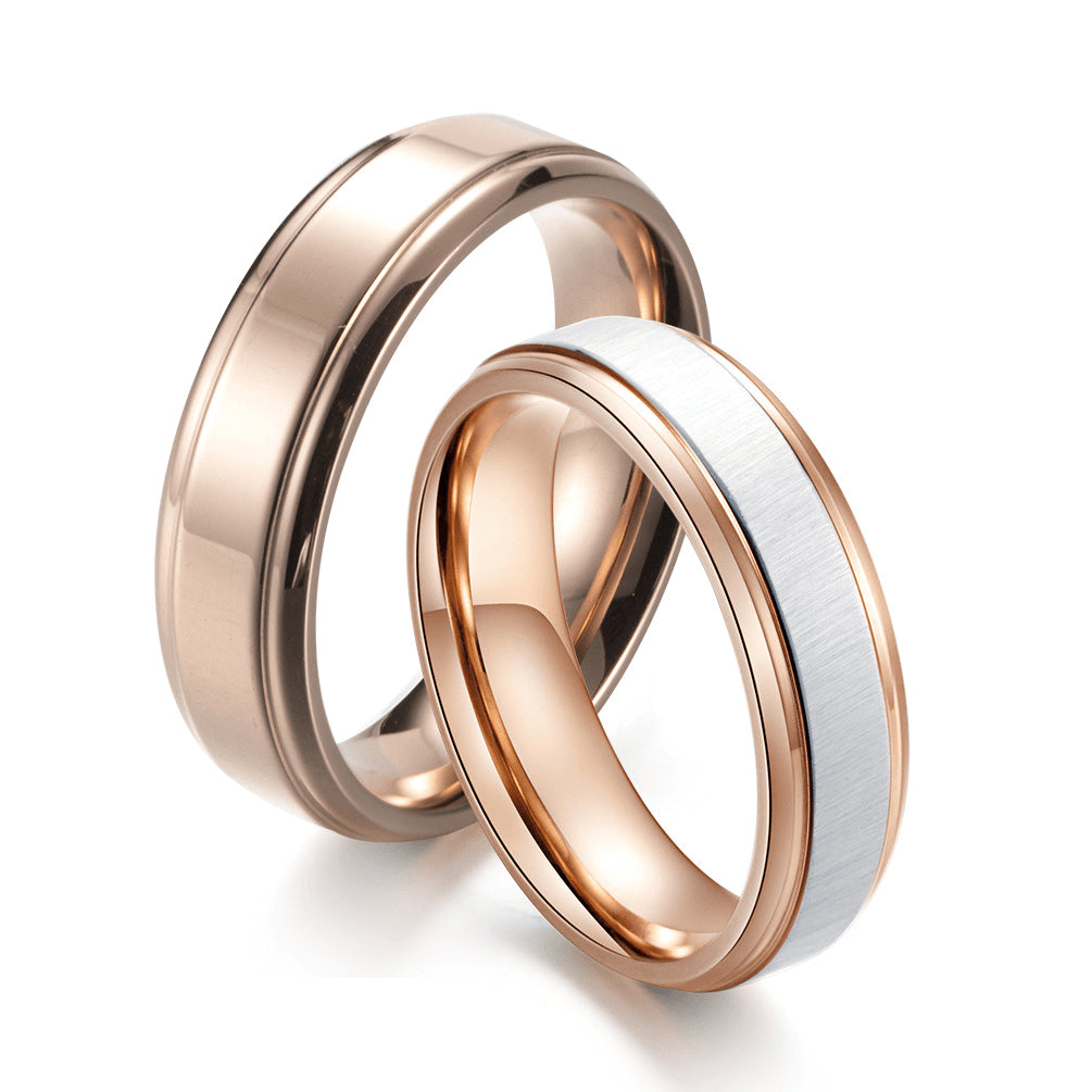 Rose Gold Promise Rings For Couple Brushed Simple Wedding Bands Gardeniajewel