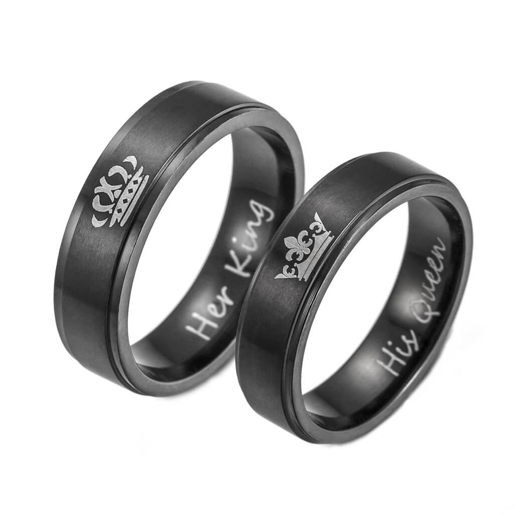 Her King His Queen Couple Rings