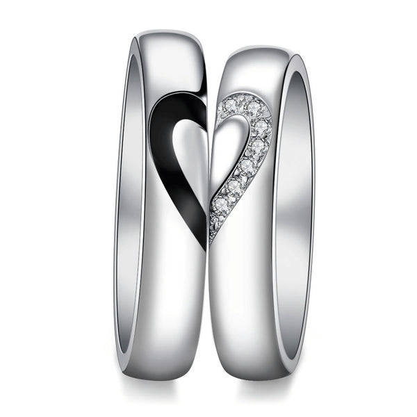 Matching Heart Silver Promise Rings