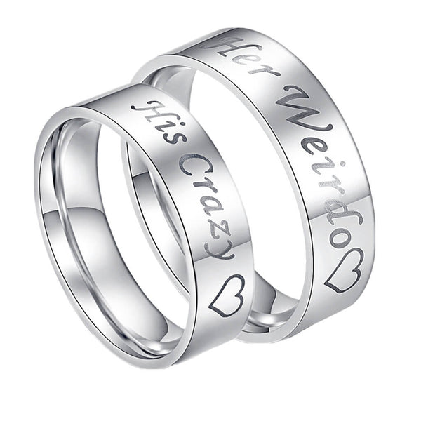 His Crazy & Her Weirdo Couple Rings Silver