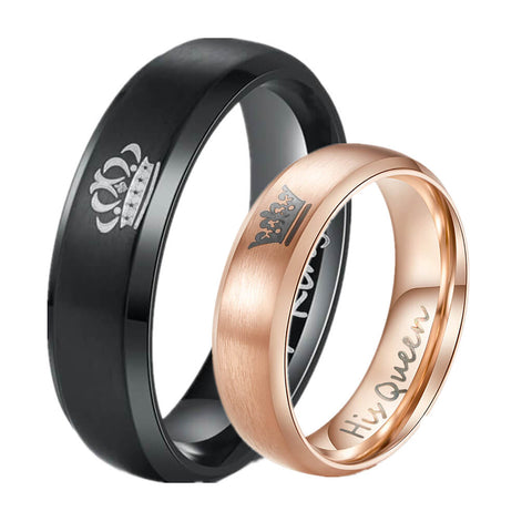 Rose Gold Her King His Queen Couple Ring