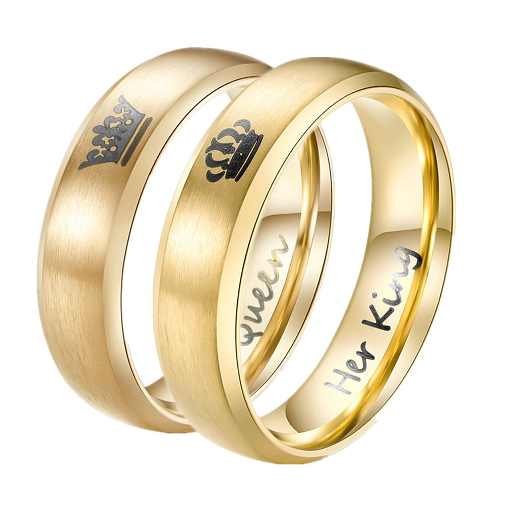 Personalized Her King & His Queen Gold Couple Rings ...