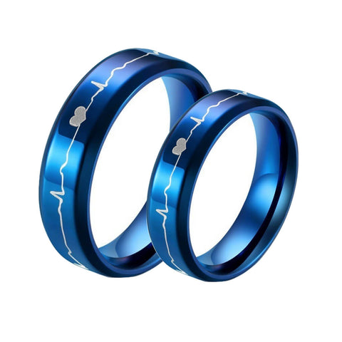 Blue Heartbeat Couple Rings