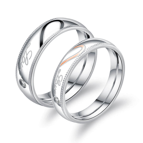 Classic Matching Love Heart Couple Promise Rings