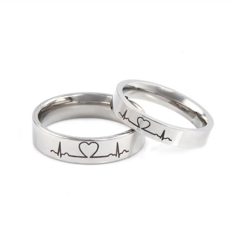 245d16e0f6 Lover Heartbeat ECG Promise Rings for Couples Titanium Steel. Ring Size  Guide