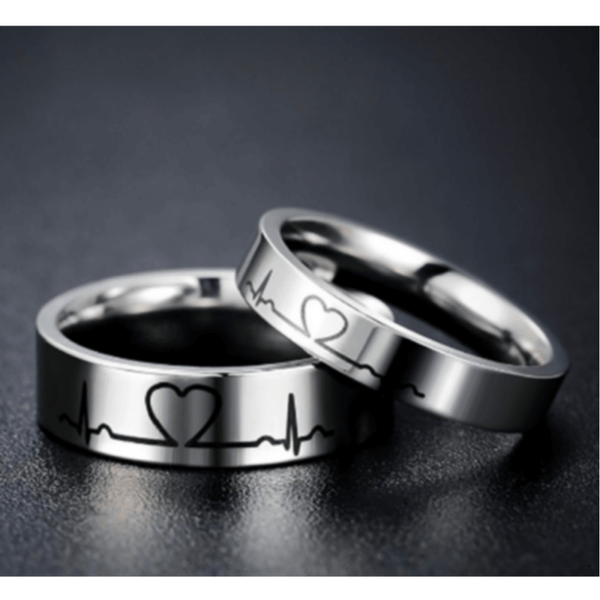 Lover Heartbeat ECG Promise Rings for Couples Titanium Steel