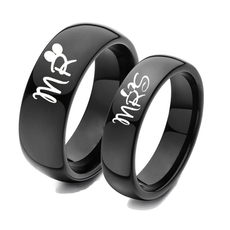 Matching MR.MRS Promise Rings For Couples Black Wedding ...