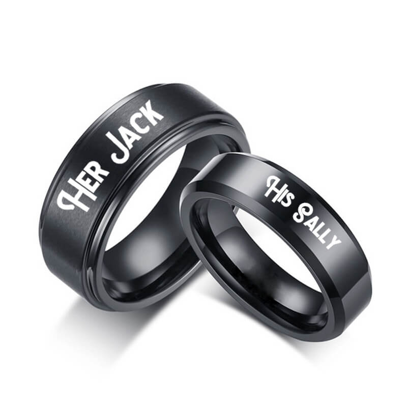 his sally her jack black couple rings matching titanium. Black Bedroom Furniture Sets. Home Design Ideas