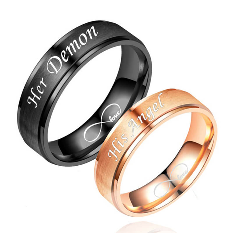 ffc210ac3b97a Black and Rose Gold His and Hers Promise Rings