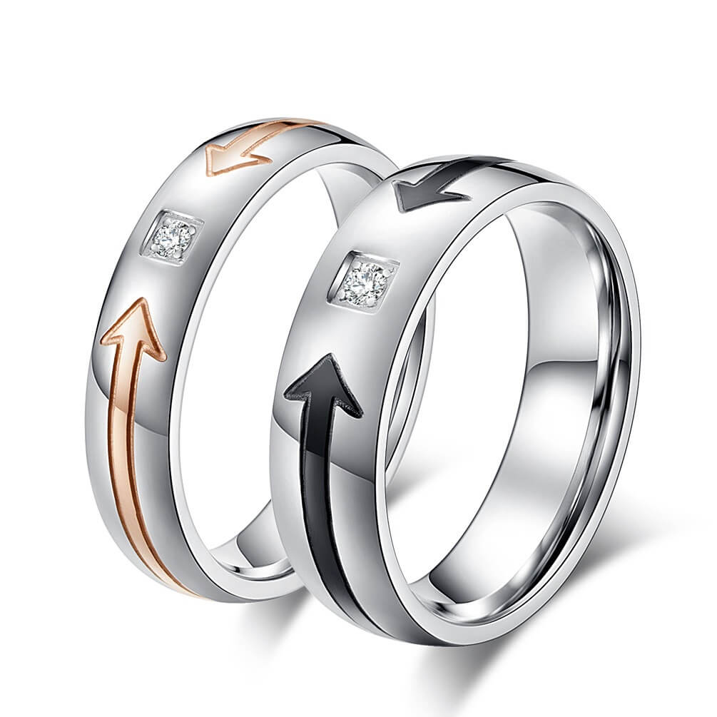 289794ba13 Cupid's Arrow Couple Rings His and Hers Wedding Bands Promise ...