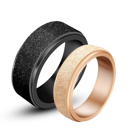 Black & Rose Gold Couples Promise Rings